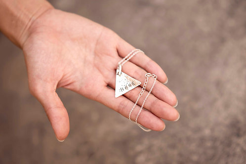Silver Triangle Plate Pendant with Hope hand stamp