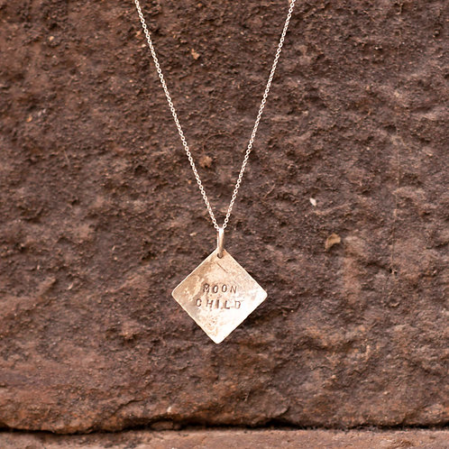 Silver Square Plate Pendant with Moon Child hand stamp
