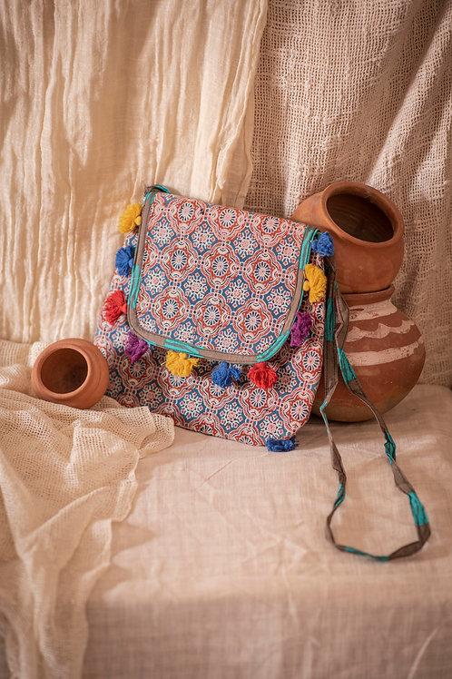 Hand Block Print Saffron Shoulder BagEthnic