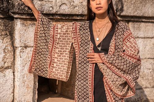 Cotton Hand Block Print Pattern Three Unisex Aren Kimono