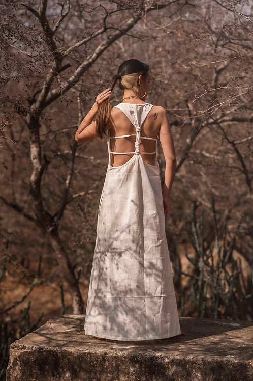 Maxi, Cotton Linen, Open Back Sera dress with hand block print in white, sustainable clothing