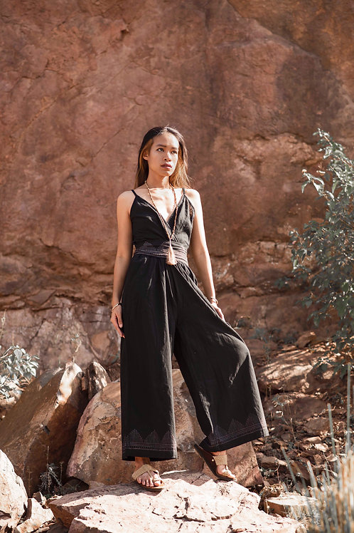 Cotton Linen, One Size, Leona Jumpsuit with Hand Block Print in Black