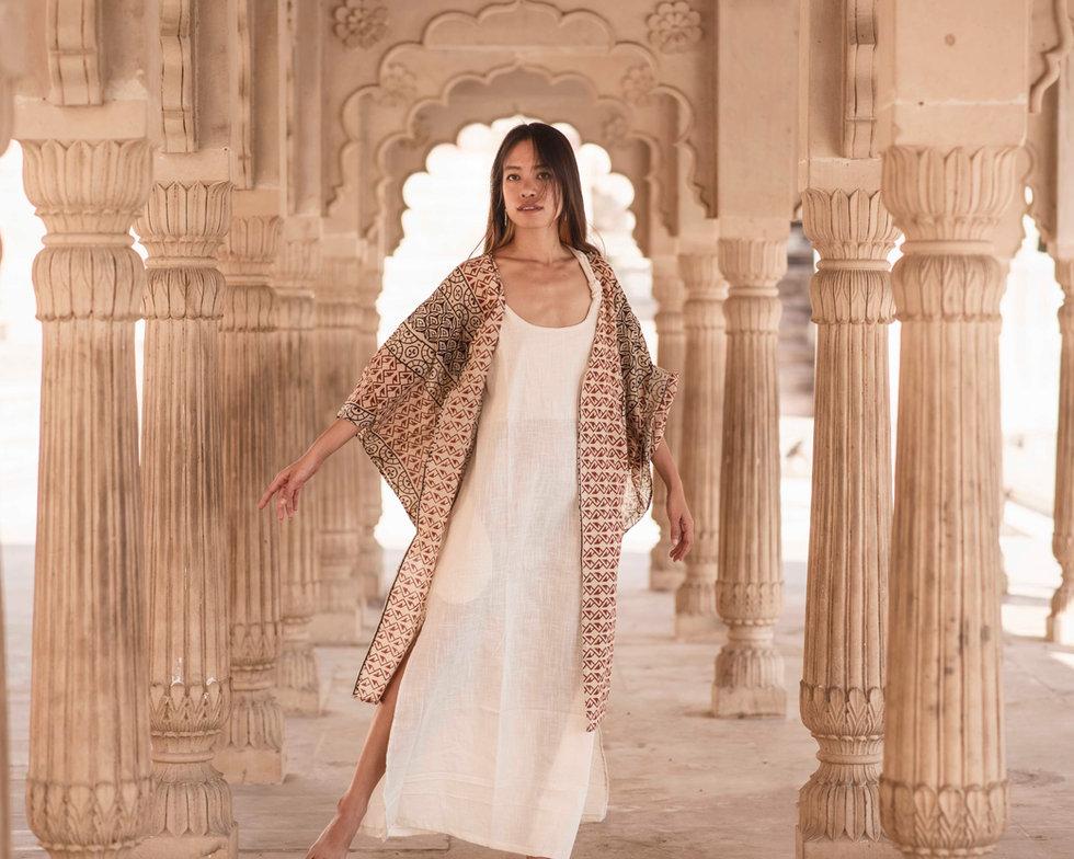 Sera Dress in Natural White and Aren Kimono