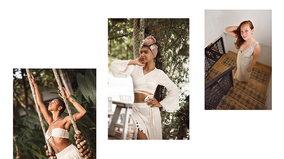 beautiful women posing with sustainable fashion clothes