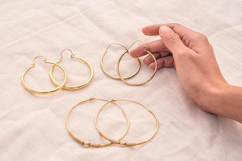 Set of 3 Brass Hoop Earrings