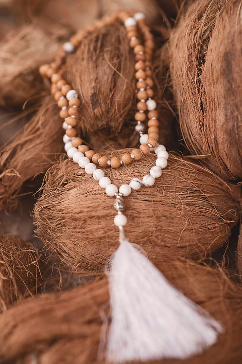 Handmade Mala with 108 Howlite & Wood beads