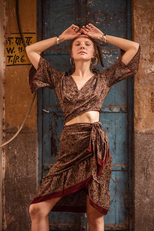 up-cycled Indian silk saree wrap around top and skirt Butterfly set in deep brown