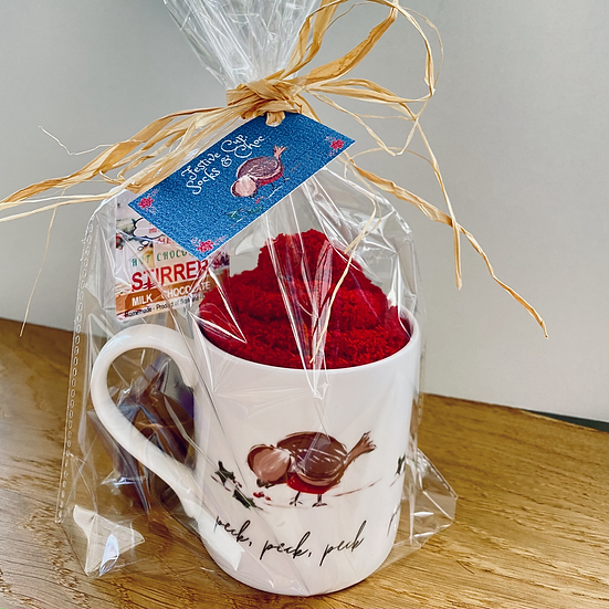 Festive Bone China 'Pecking Robin' Cup, Choc & Socks Gift Set