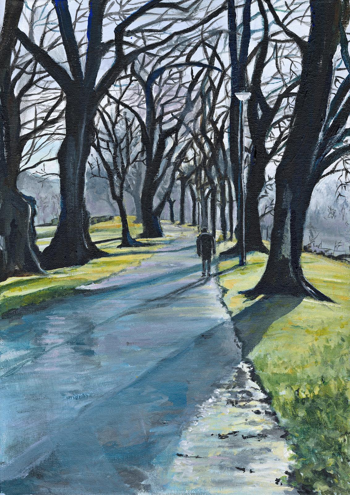 Long Winter Shadows, Dock Park, Dumfries by Laura Walker