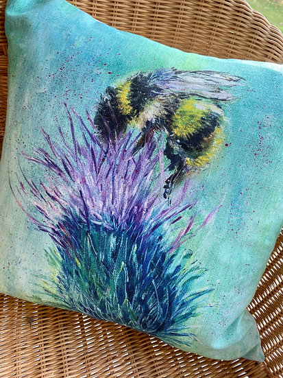 Thistle Bee Cushion Cover Only