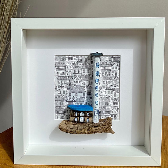 Framed Driftwood Art 'Lighthouse Rock'