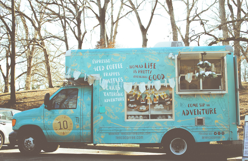 Our coffee truck is whimsical and vintage and perfect for your wedding day.