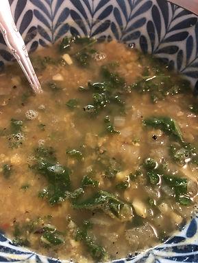 Cleansing lentil & greens soup