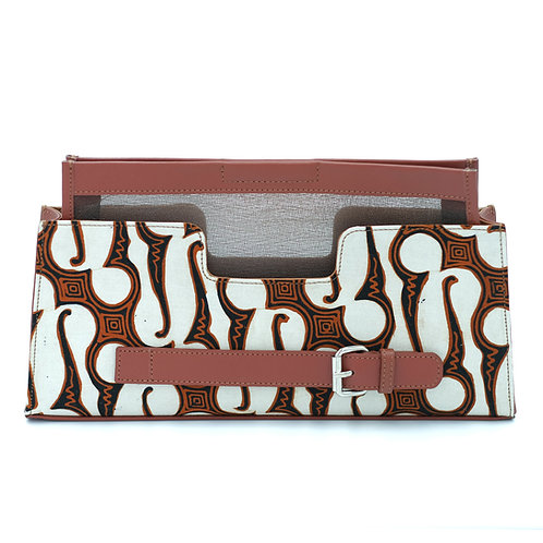 Imah clutch Batik Parang Brown Nappa - Large