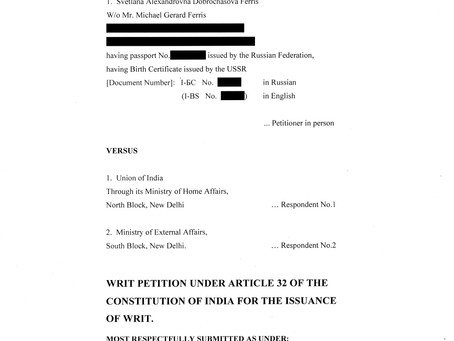 WRIT PETITION in PIL on USSR CASE (228 pages). In the Supreme Court of India.