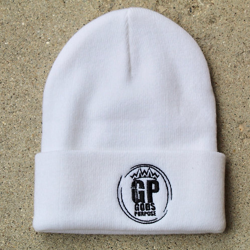 White and Black Sweater Winter Hat