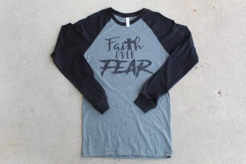 Gray and Black Long Sleeve Faith Over Fear Shirt