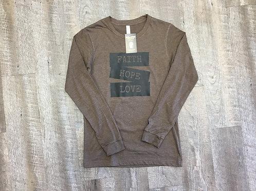 Brown Faith, Hope ,Love Long Sleeve T-Shirt