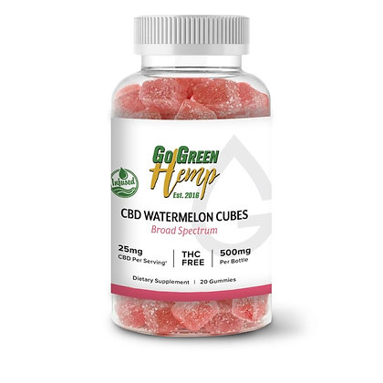 CBD Infused Watermelon Cubes 25mg | 20 Count (500mg)