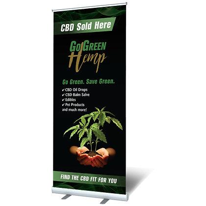GoGreen Hemp Retail CBD Sold Here Retractable Banner (Orders 2k+)
