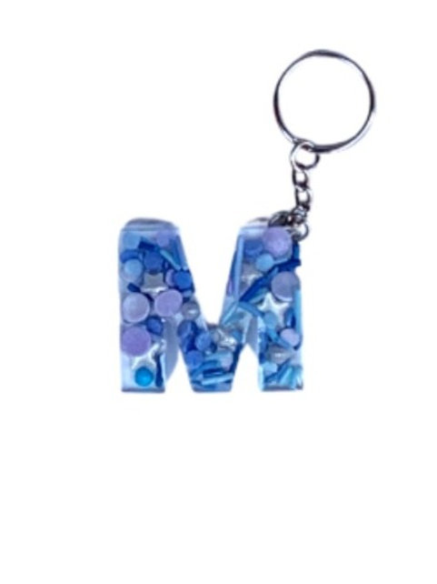 Resin Letter Keychain with Starry Night Sparkle