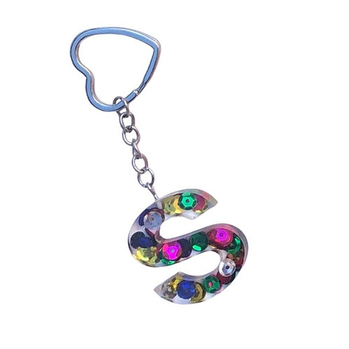 Resin Letter Keychain with Mardi Gras Sparkle