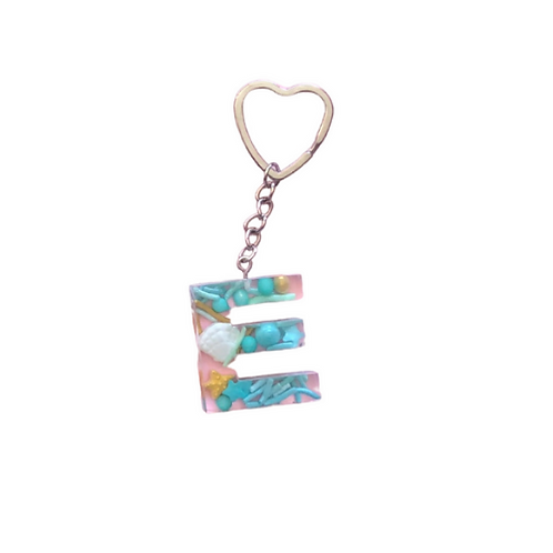 Resin Letter Keychain with Under the Sea Sparkle