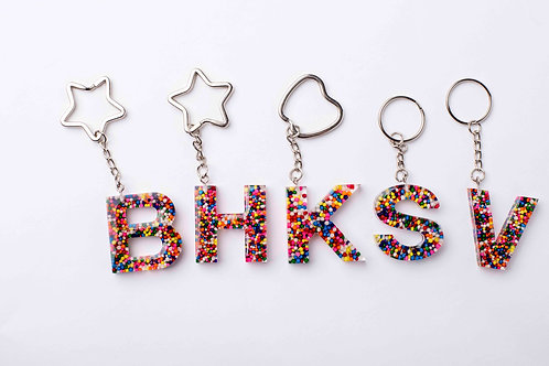 Resin Letter Keychain with Funfetti Sparkle