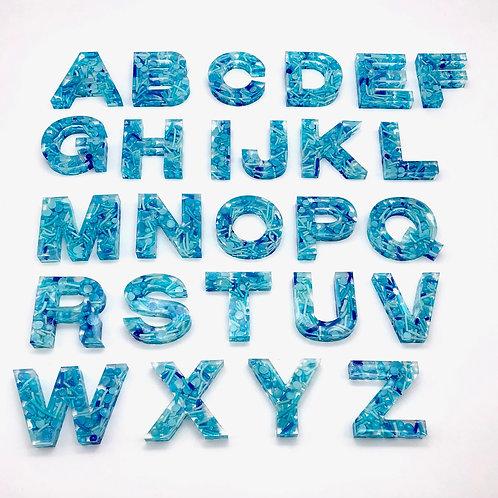Resin Alphabet Letter Set - Ocean Blue