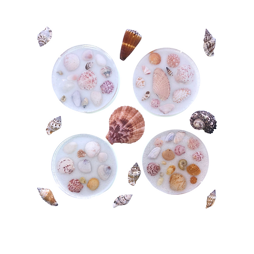 Resin Coasters Filled with Seashells