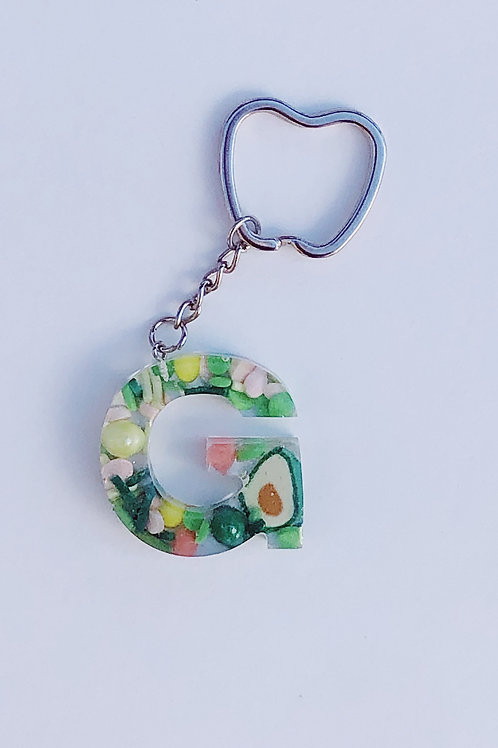 Resin Letter Keychain with Holy Guac Sparkle