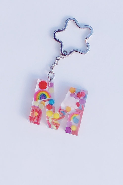 Resin Letter Keychain with Over the Rainbow Sparkle
