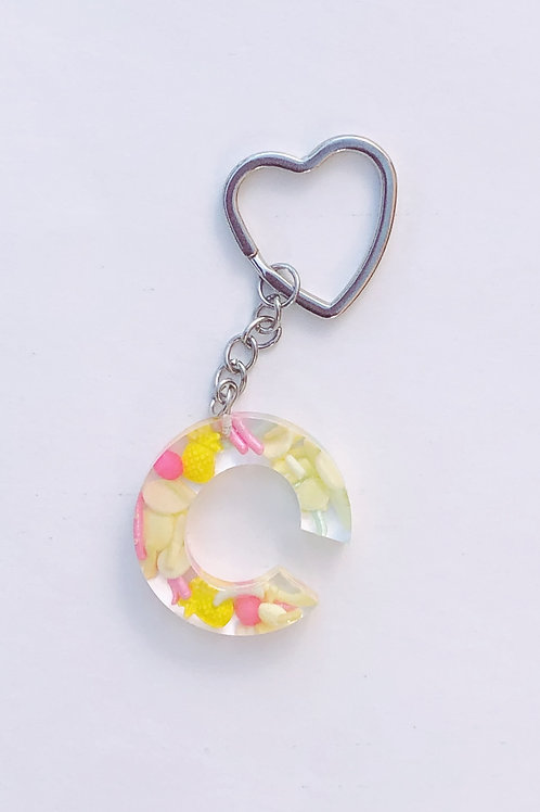 Resin Letter Keychain with Pineapple Punch Sparkle