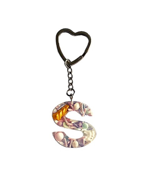 Resin Letter Keychain with Unicorn Dreams Sparkle