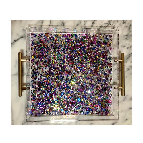 Acrylic Serving Tray w/ Multi Color Confetti
