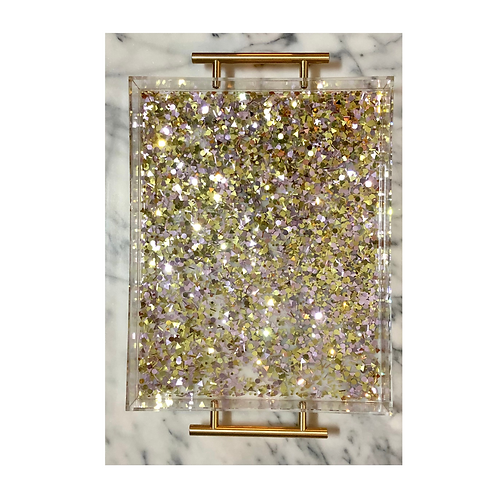 Acrylic Serving Tray w/ Gold & Rose Gold Confetti