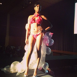 Up close pic of my boo _andiebaybee  Rockin the winning piece I created covered with condoms__stylis
