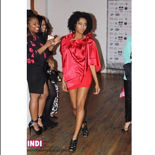 My girl Janelle rocking the huh waist mini skirt, with silky rooshed collared cloak ...