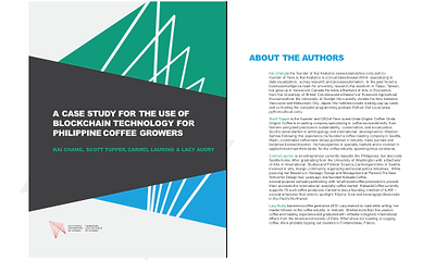 """Cover page of the Asia Pacific Foundation of Canada's Micro, Small, and Medium Enterprises Report,  """"A Case Study for the Use of Blockchain Technology for Philippine Coffee Growers"""" with Kai Analytics"""