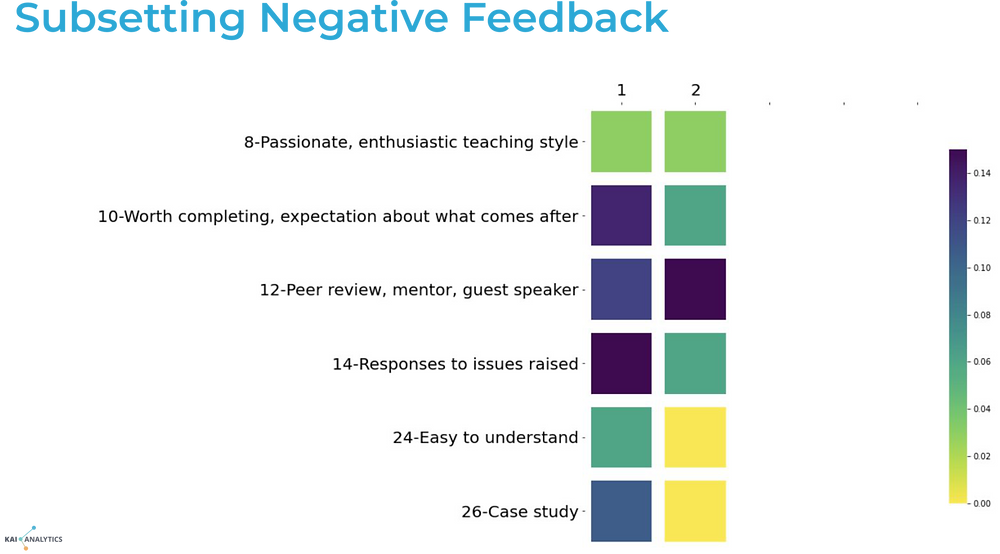 An example of topic modeling at work with a granular analysis of negative feedback from a course evaluation