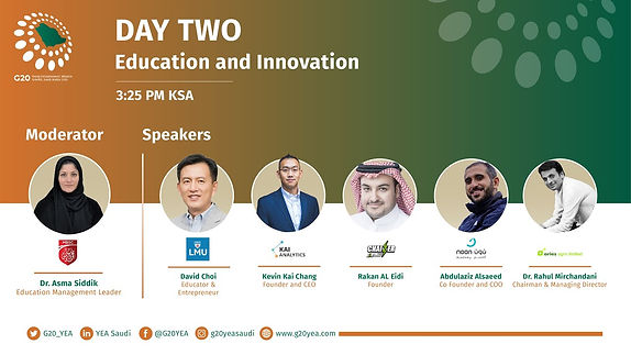 Founder and CEO, Kevin Chang, on a virtual panel at the G20 YEA Summit in Saudi Arabia.