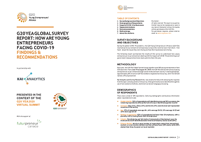 Cover page of the G20 YEA Global Survey Report: How are Young Entrepreneurs Facing COVID-19 Findings and Recommendations with Kai Analytics