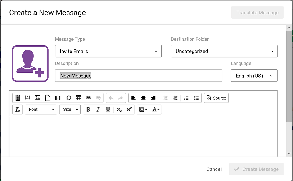 creating a new message in qualtrics