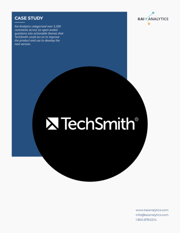 Kai Analytics   TechSmith   Snagit   Camtasia   User Feedback   Customer Experience   Text Analysis   Survey Design