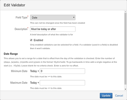 Example of a date validator