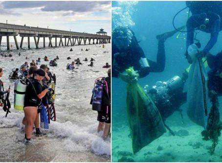 Un poco más de 600 buzos batieron el récord mundial de limpieza submarina.