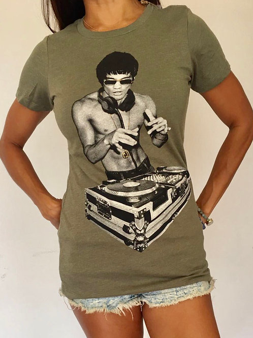 Bruce Lee DJ Heather Green Tee