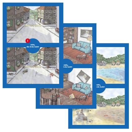 Illustrations for postcards