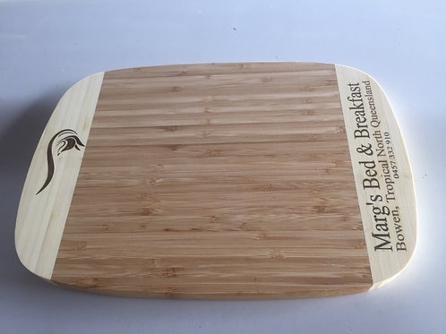 Raw Custom Bamboo Cheese Board with 1 Graphic Image.