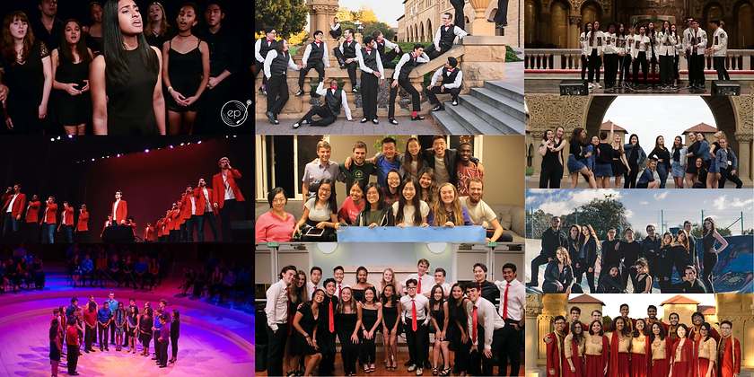 Collage of pictures from every a cappella group